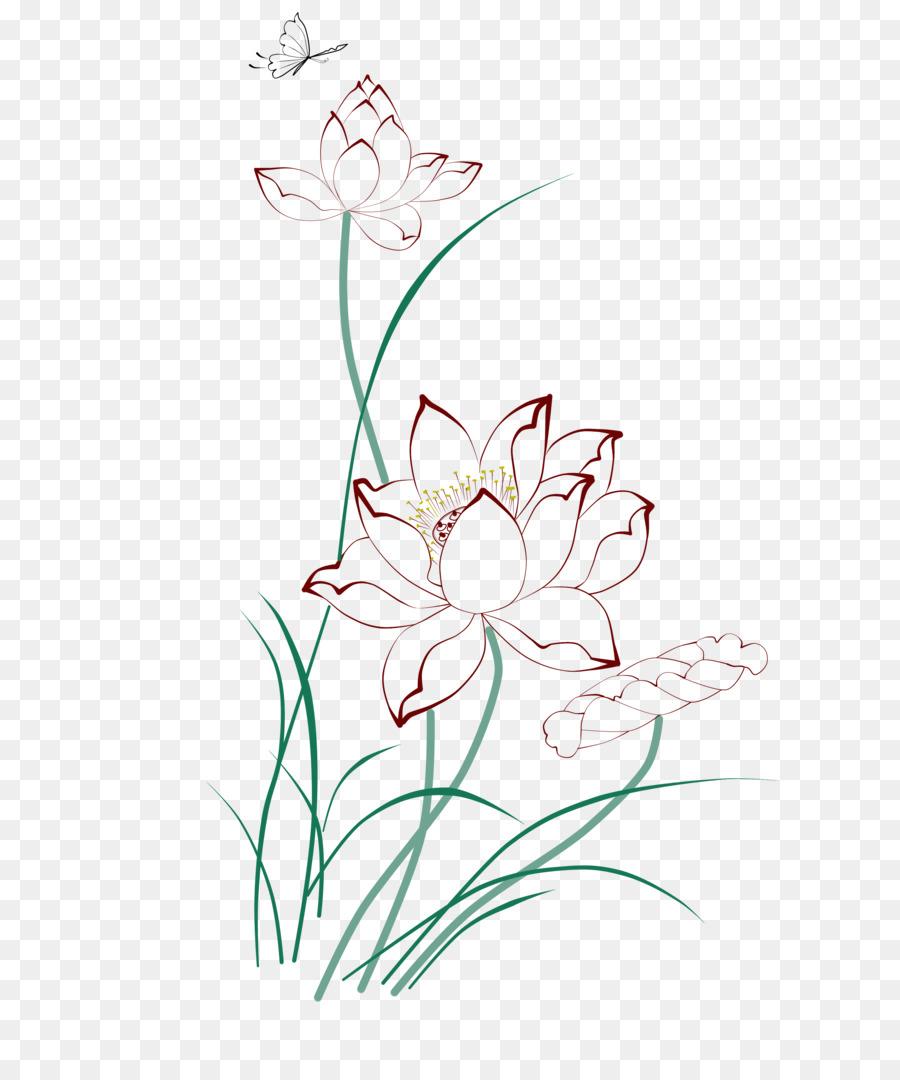 Painting Drawing Line Drawing Lotus Png Download 36654357