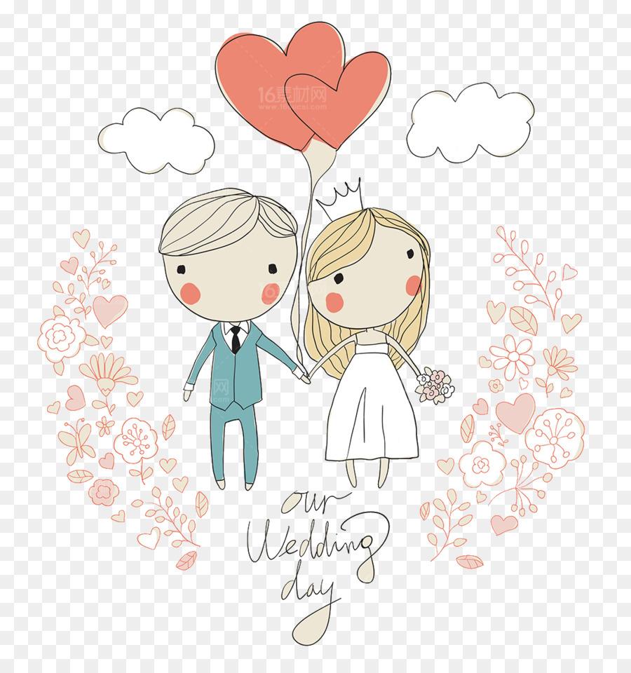 Wedding invitation Bride Illustration - Cute cartoon character ...