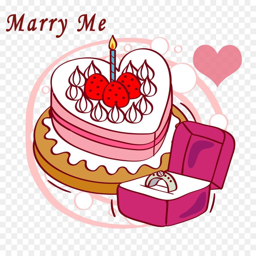 Birthday Cake Engagement Ring Wedding Illustration