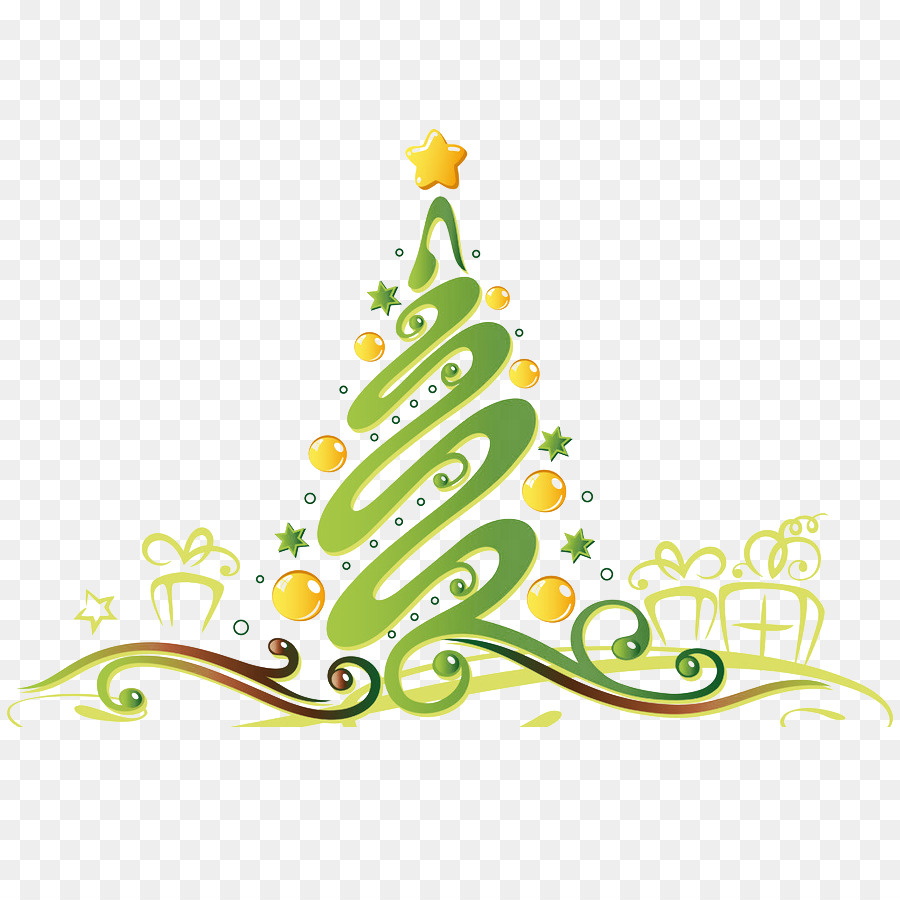 Christmas tree Gift Yule New Year Illustration - Features Christmas ...