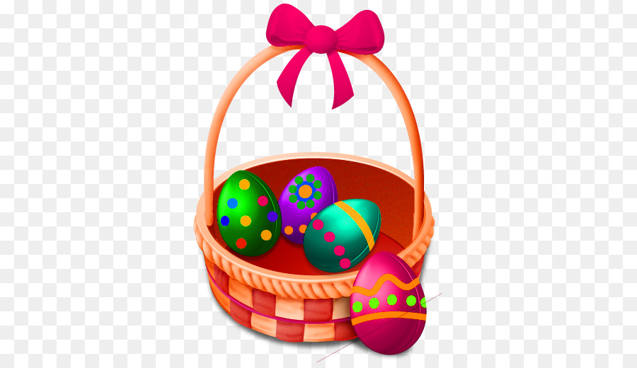White easter basket (box) with simple easter bunny and pink dots.