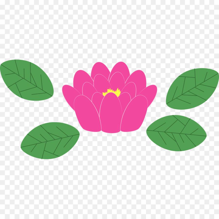 Japón Cartel Elemento - Cuatro hojas de color verde y flor de loto ...