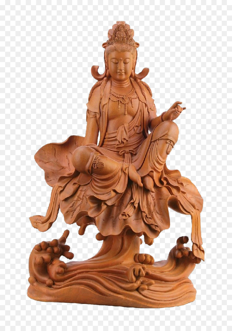 Statue Wood Carving Sculpture Buddha Sitting On A Lotus Root