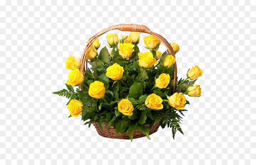Garden roses Basket Flower bouquet Yellow - Yellow Rose png download ...