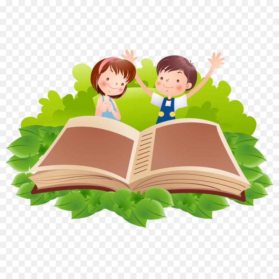 Reading Book Cartoon Clip Art Cartoon Children Png Download 1200