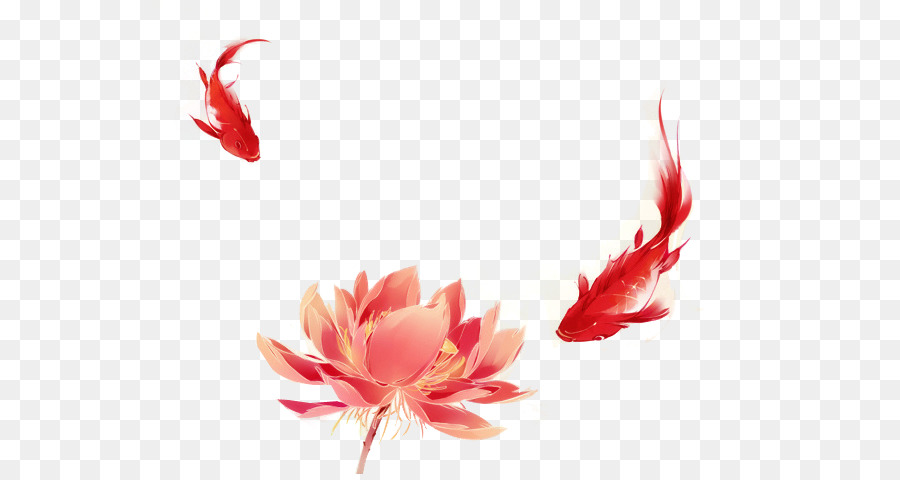 Koi Watercolor Painting Illustration Red Lotus And Carp Png