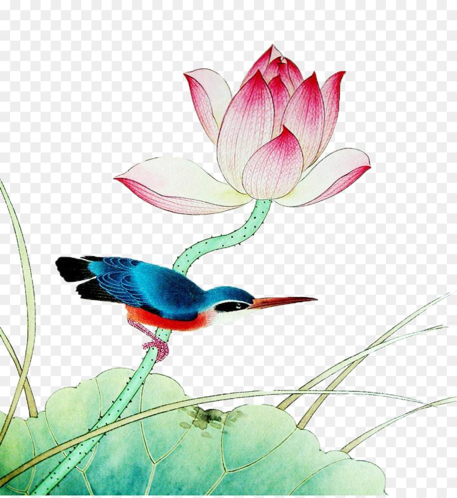 Gongbi chinese painting nelumbo nucifera ink wash painting bird and gongbi chinese painting nelumbo nucifera ink wash painting bird and flower painting hand painted lotus izmirmasajfo