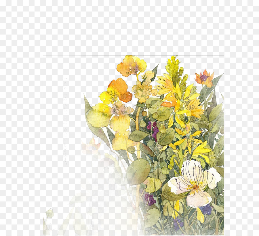 çiçek Boyama Suluboya çiçek Tasarım çizim Illüstrasyon Buket El