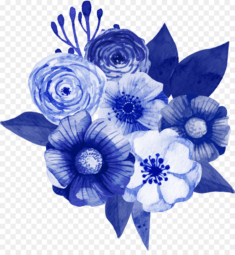 Flower bouquet Floral design Blue Tulip - Vector dark blue floral ...