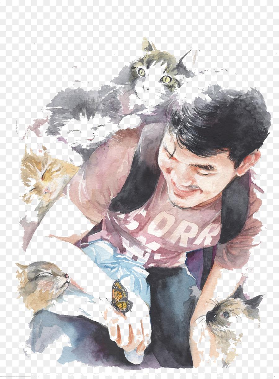Cat, Kitten, Litter Box, Watercolor Paint, Interaction PNG