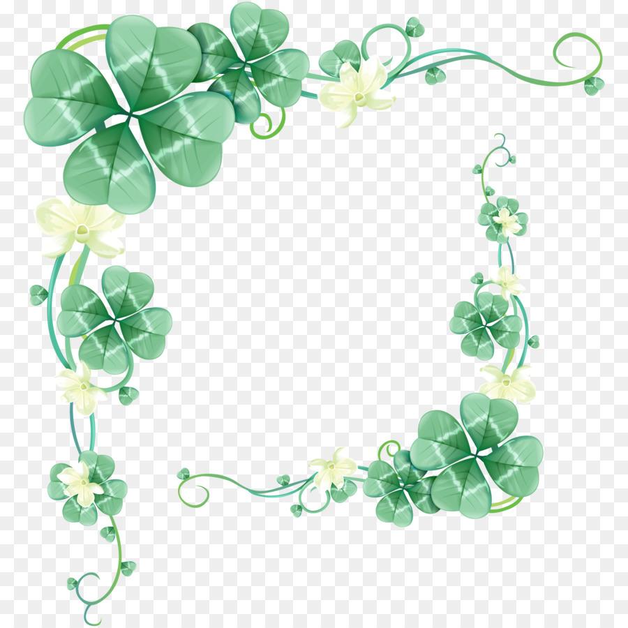 four leaf clover green floral border design