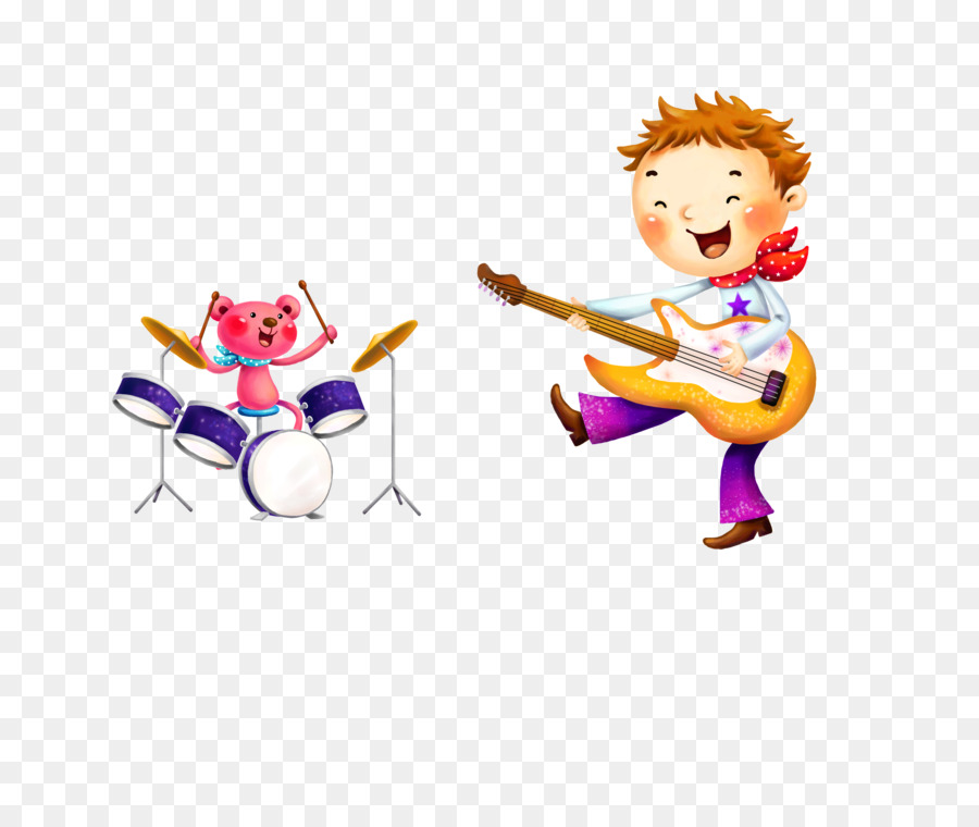 Gitar Listrik Tangan Dicat Anak Anak Pola Unduh Mainan Seni