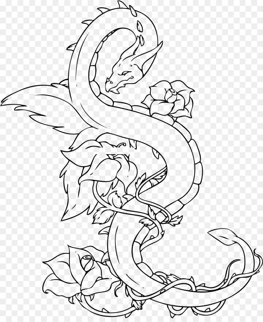 China Chinese dragon Drawing Tattoo - Long Tree png ...