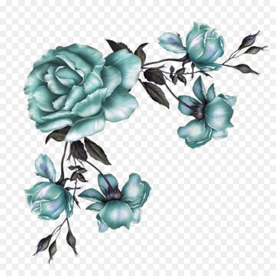 Paper Flower Pink Rose Vintage Clothing Blue Flower Vine Png
