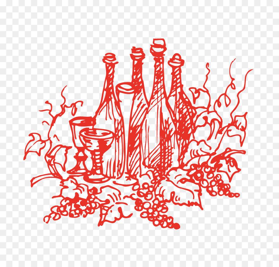 Merah Anggur Cabernet Sauvignon Vektor Euclidean Botol Vektor