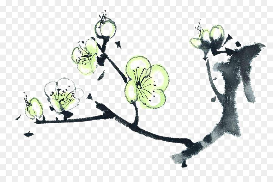Lavis A L Encre De Peinture De Peinture Chinoise Plum Blossom Blanc