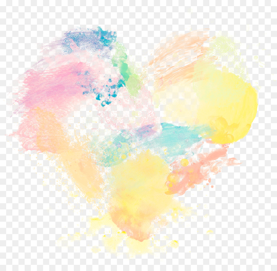 Watercolor painting Wallpaper - Color Ink Wind Heart png download ...