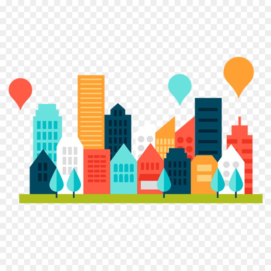 Paisaje urbano Horizonte de Clip art - Color plano de construcción ...