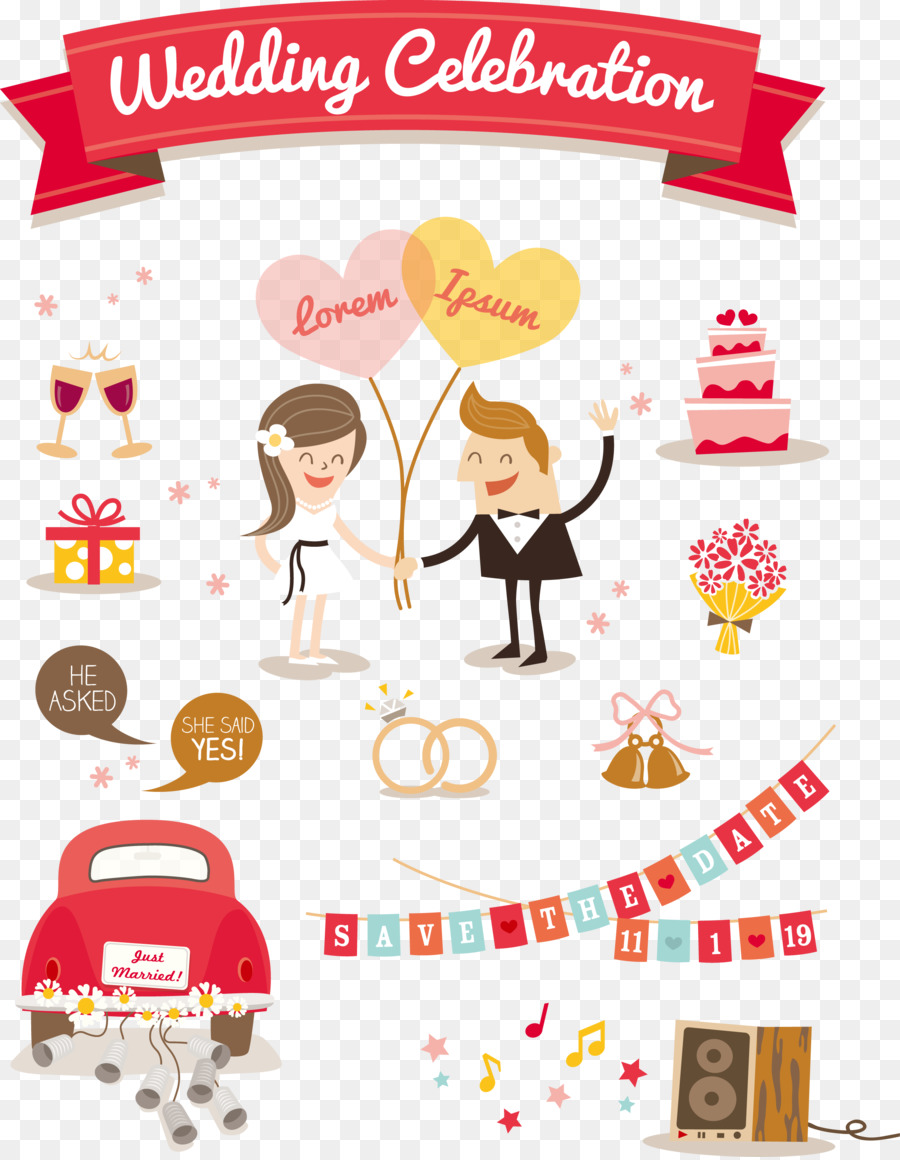 Wedding invitation cartoon illustration wedding decoration wedding invitation cartoon illustration wedding decoration elements junglespirit Image collections