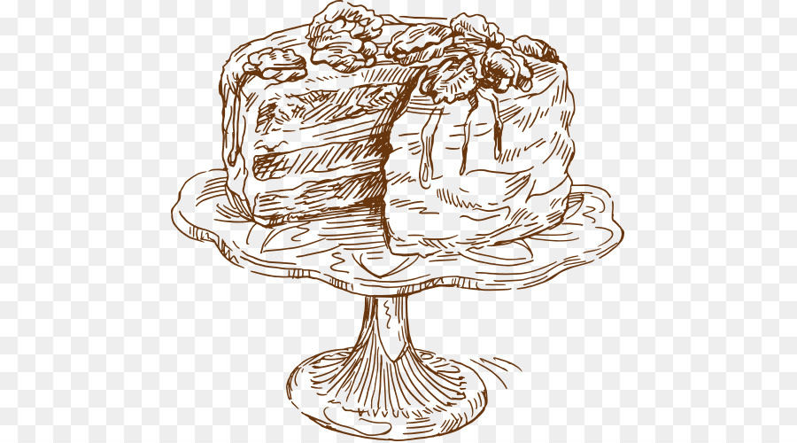 Coffee Cake Drawing Food Vector Sketch Cake Cutting Png