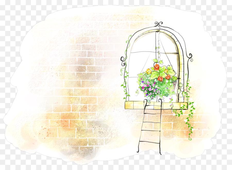 Window Watercolor Painting Cartoon Illustration