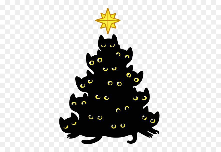 black cat kitten christmas tree black cat illustration