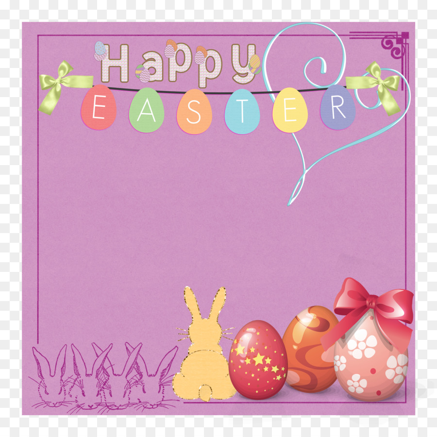 Easter Greeting Card Picture Frame Flower Rabbit Happy Easter Png