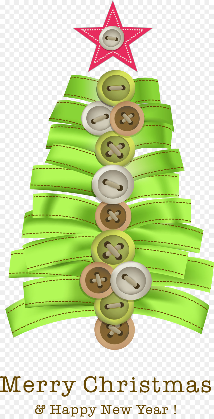 christmas tree christmas card tree topper christmas button with green ribbon