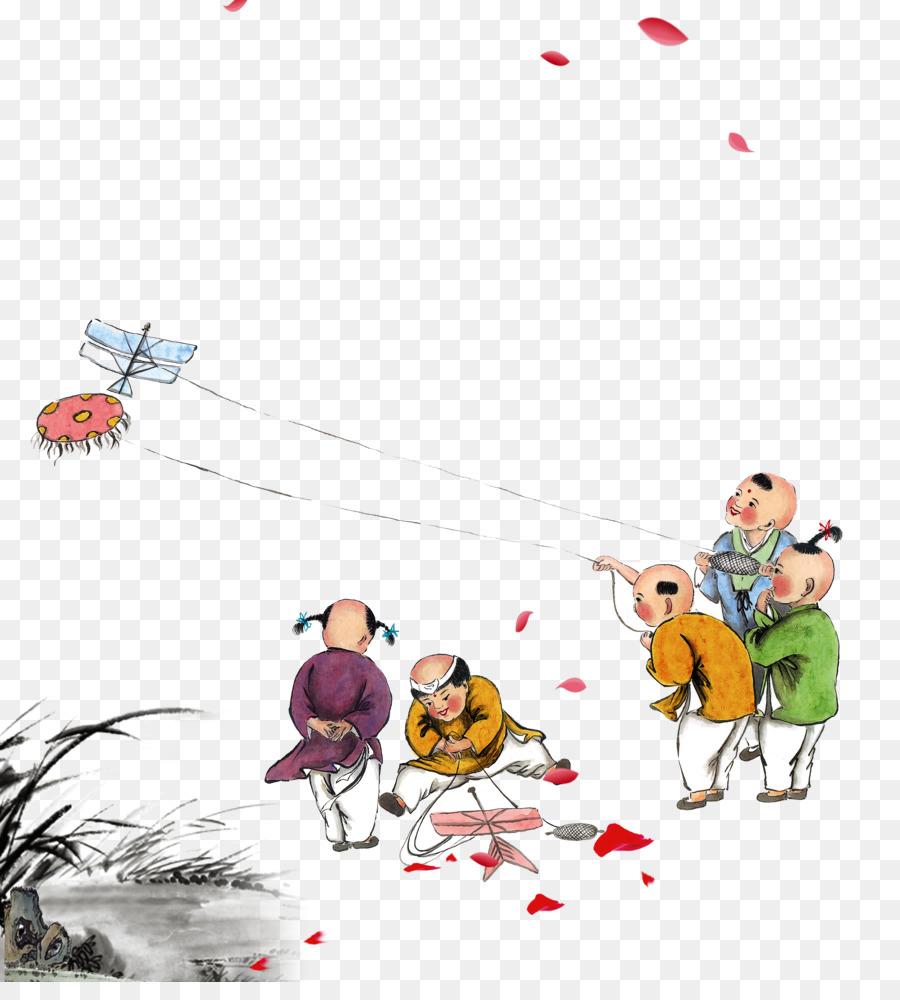 china child ancient history kite play hand painted watercolor kite