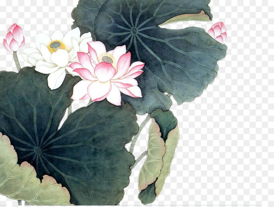 Nelumbo Nucifera Chinese Painting Art Ink Painting Style Lotus And