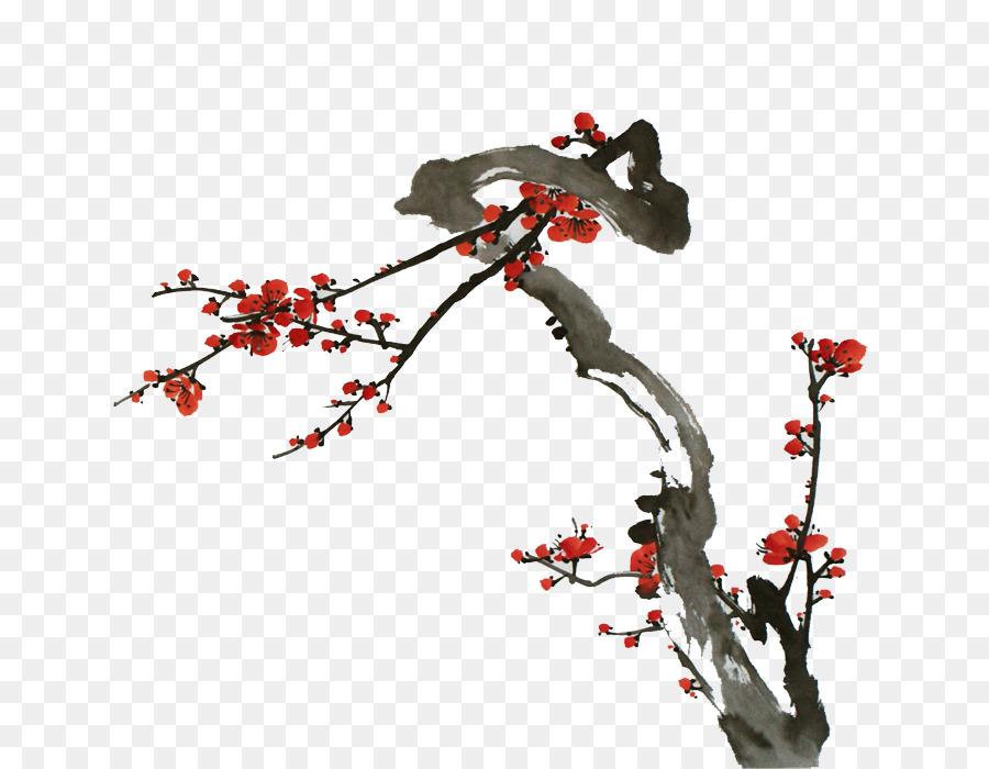 Mürekkep Boyama çin Resim Erik çiçeği Kuş Ve çiçek Boyama Yıkama