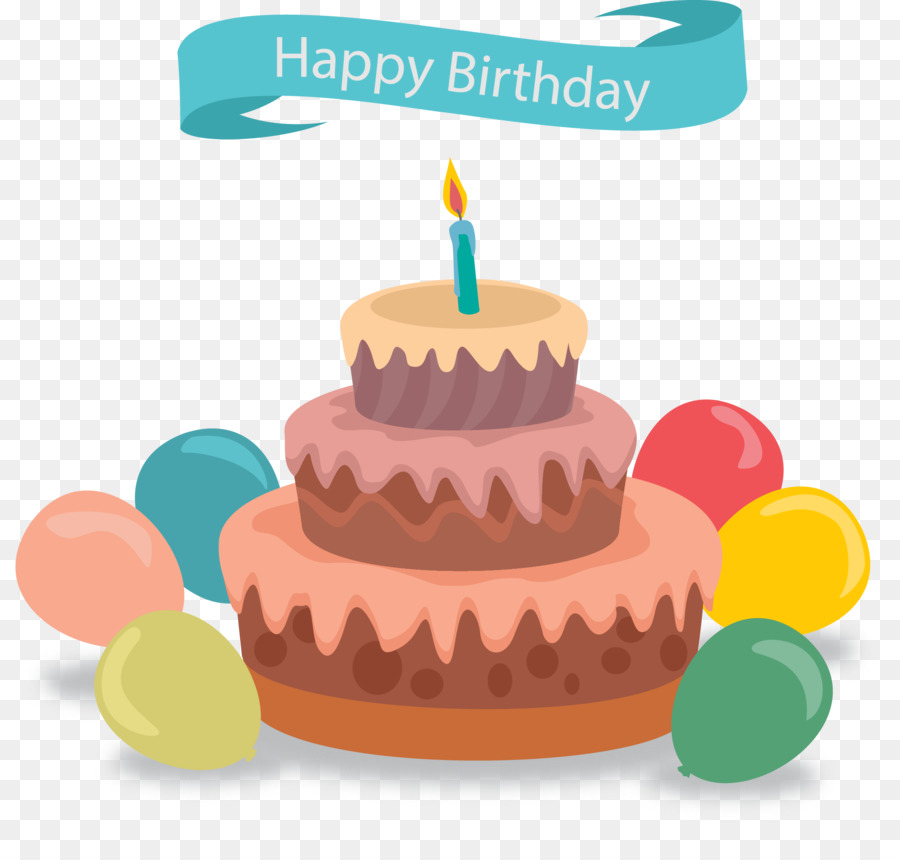 Birthday Cake Greeting Card Balloon Vector Hand Painted Cake Png