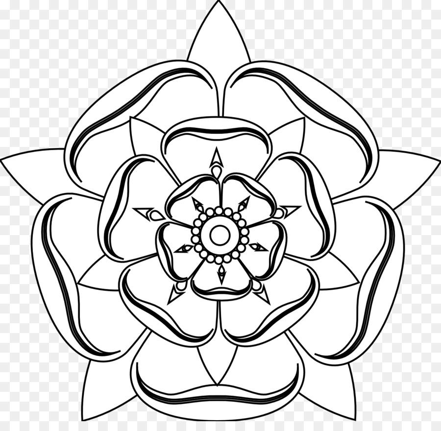 Tudor Rose White Rose Of York Drawing Clip Art Flower Tattoo Black