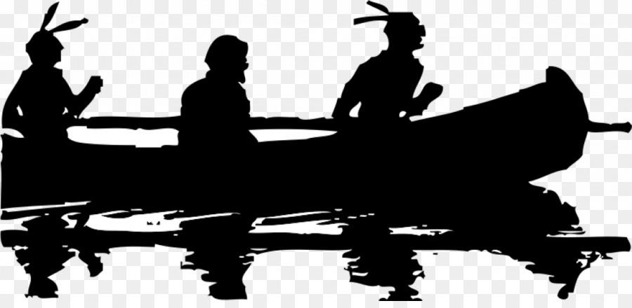 Silhouette Black And White Canoe Clip Art