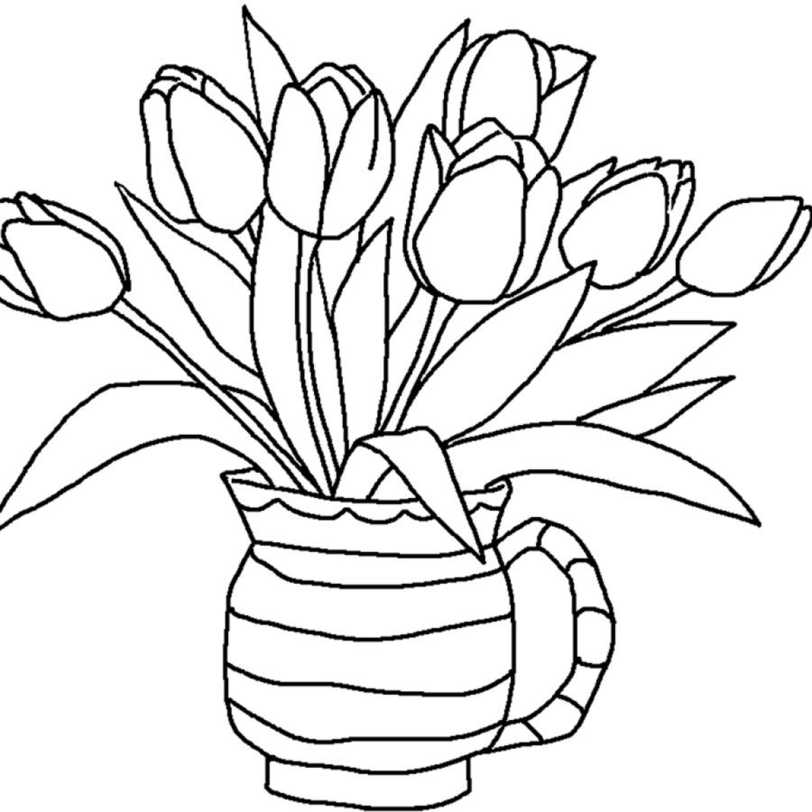 Libro para colorear Flor de Tulipán Niño Adulto - flores de dibujo ...