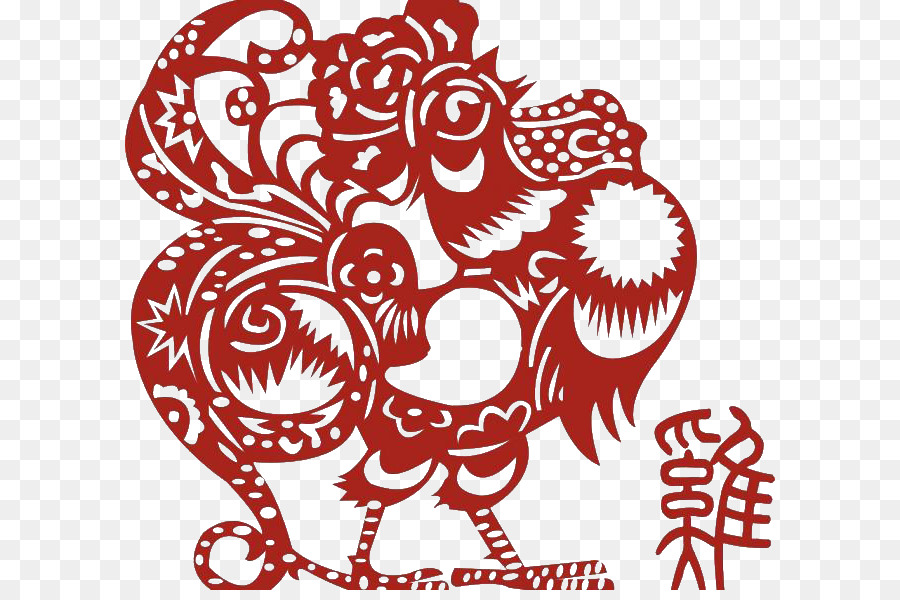Ayam Shio Ayam Jago Tahun Baru Cina Tai Sui Merah Pola Elemen Ayam