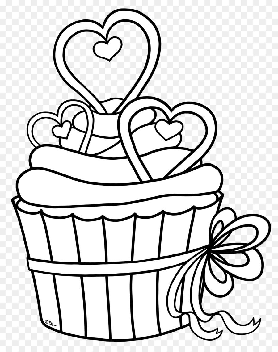 Cupcake de Dibujo en blanco y Negro para Colorear libro Clip art ...