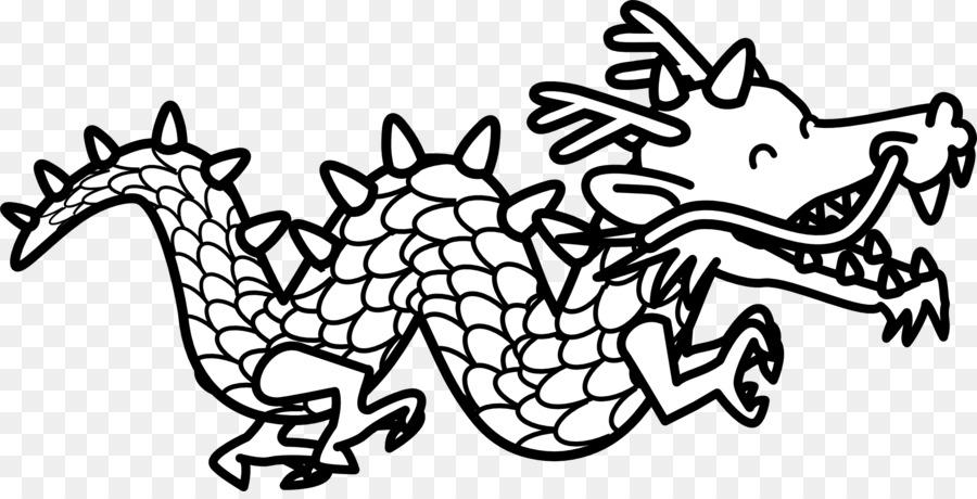Dragón chino en blanco y Negro para Colorear libro Clip art - Dragón ...