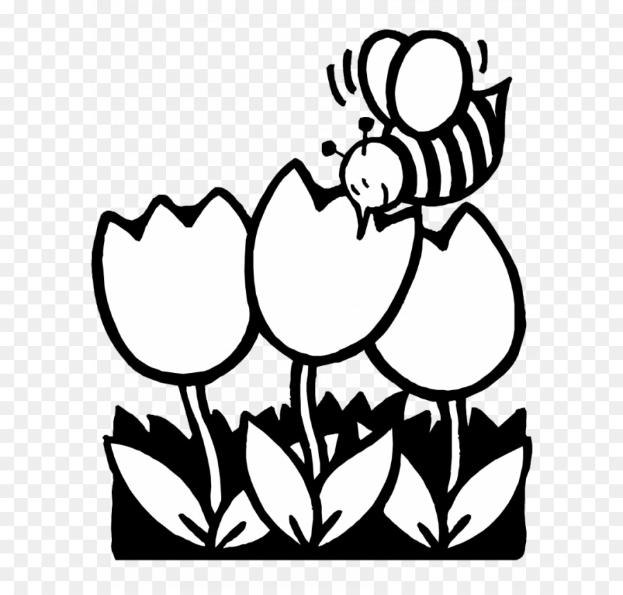 Black And White Coloring Book Spring Clip Art