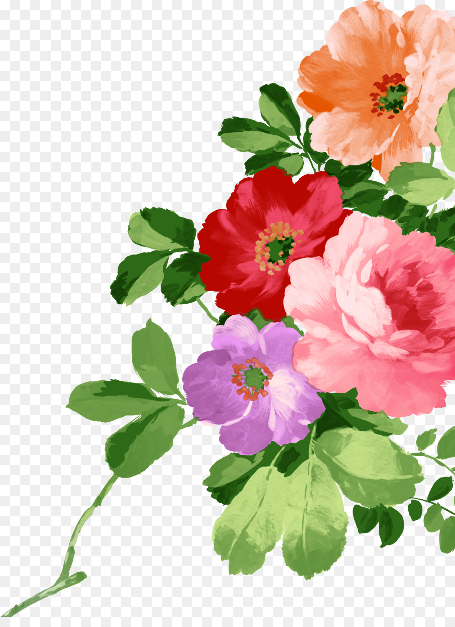 Watercolor Pink Flowers png download - 1905*2585 - Free