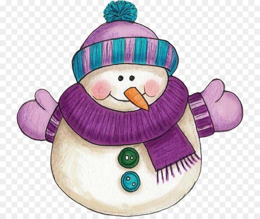 Ornamento De La Navidad Del Muneco De Nieve De Color Purpura Clip