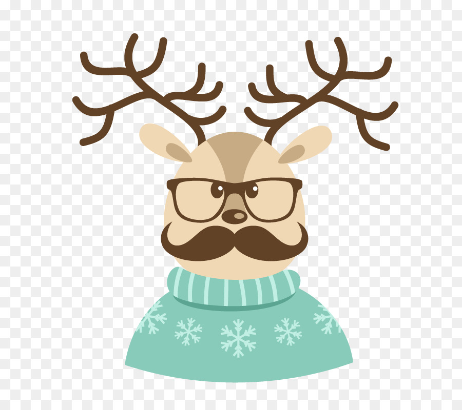 Santa Claus Reindeer Christmas card Hipster - Wearing a blue sweater ...