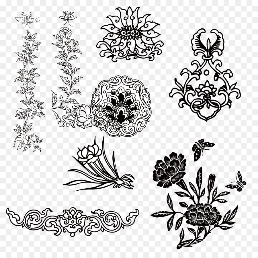 motif floral design designer pattern vintage traditional pattern vector material png download. Black Bedroom Furniture Sets. Home Design Ideas