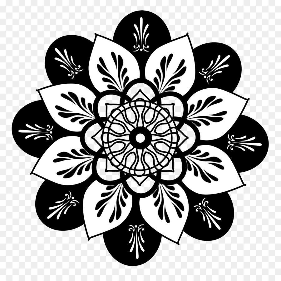 Drawing Flower Floral Design Clip Art Black Mandala Cliparts Png