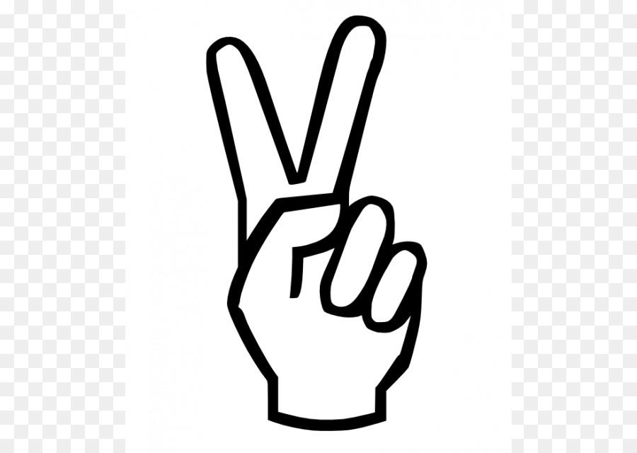V Sign Peace Symbols Coloring Book Hand Clip Art Cartoon Peace