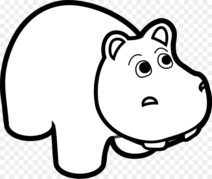 Hipopótamo de dibujos animados en blanco y Negro imágenes ...