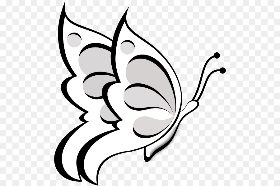 Flower outline butterfly. Black and white png