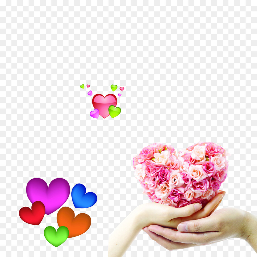 Flower Heart Hand Floristry Heart Shaped Png Download 994994