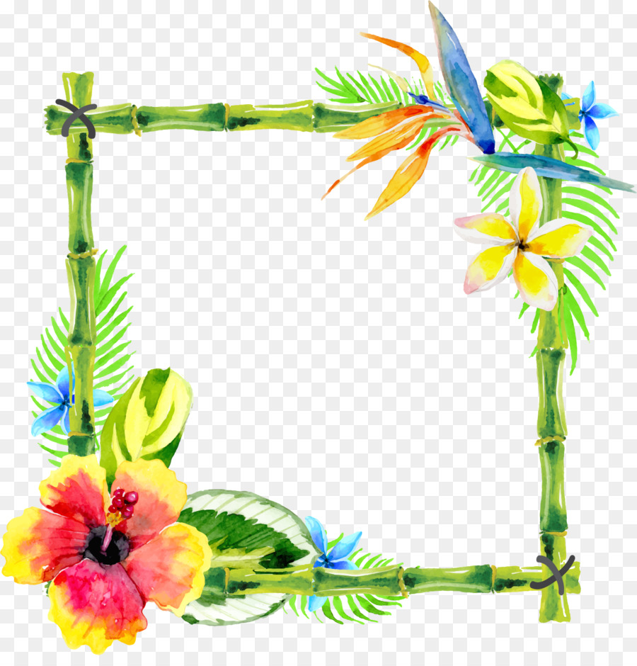 Floral design watercolor painting bamboo rattan border