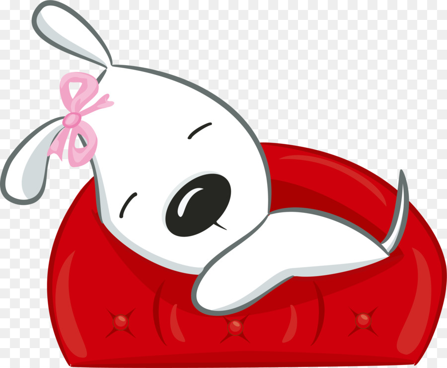 Drawing Valentine S Day Hand Painted White Puppy Sofa Png Download